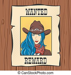 Vector illustration of Wanted Vintage Western Poster with young pretty girl in cowboy hat. Pop art style. Wild West.