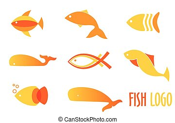 Vector illustration of warm colors golden fishes. Abstract fish logos set for seafood restaurant or fish shop.