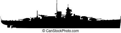 vector illustration of Warship silhouette