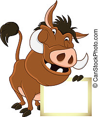 warthog cartoon with blank sign