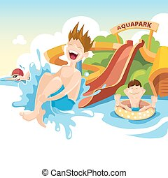 The cheerful boy rides on water hills - Vector illustration...