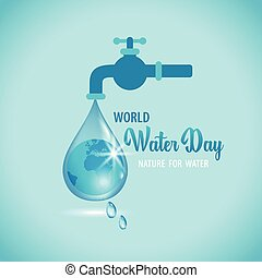 Vector illustration of water tap with the Earth globe inside...