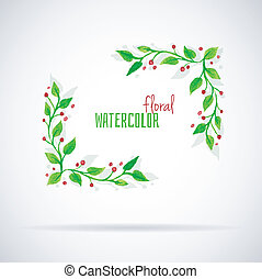Watercolor florals - Vector illustration of Watercolor...