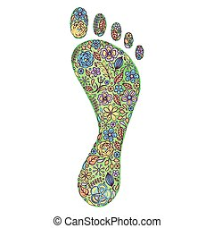 watercolor human footprint with flowers - Vector ...