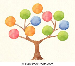 Vector Illustration of watercolour infographics tree