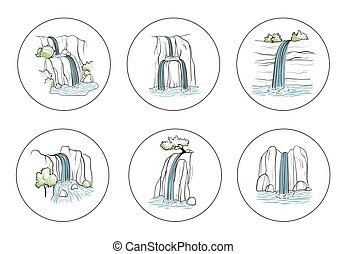 Set of vector illustration of waterfall. Water stream falling of mountain rock. Isolated outline hand drawn object. Logo, design element.