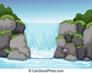 waterfall with landscape background