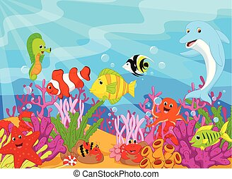 waving cartoon dolphin underwater life set - vector...