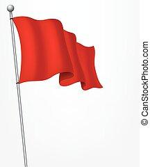Waving red flag illustration