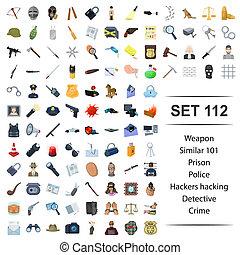 Vector illustration of weapon,prison,police,hacker,hacking...