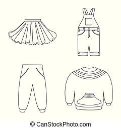 Vector illustration of wear and child icon. Collection of wear and apparel stock symbol for web.