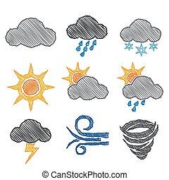 Weather Icon Pen Shading Effect Set