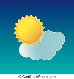 Vector illustration of weather icon sun with cloud