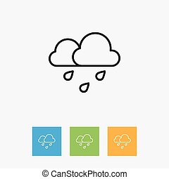 Vector Illustration Of Weather Symbol On Rain Outline....