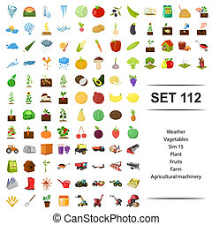 Vector illustration of weather, vegetable, plant, fruit, farm agricultural machinery icon set.
