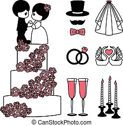 Vector illustration of wedding black symbols set
