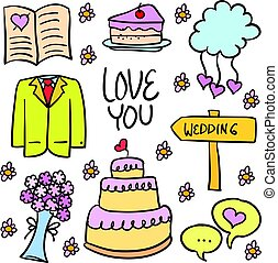 Vector illustration of wedding doodles style