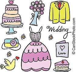 Vector illustration of wedding element doodles