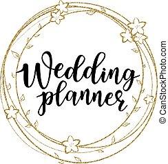Vector illustration of 'Wedding planner' lettering on a floral frame
