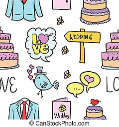 Vector illustration of wedding style doodles