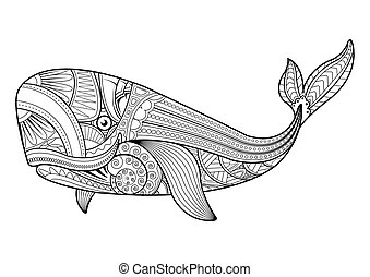 Vector illustration of whale in zentangle style