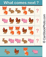 What comes next educational activity game for preschool children with farm animals