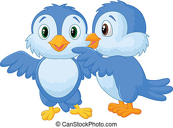 Whispering bird cartoon - Vector illustration of Whispering...