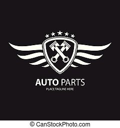 White automotive shield with wings icon