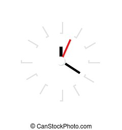 Vector illustration of white clock with shadow in flat style.