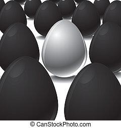 White egg Among Black eggs concept