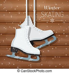 Vector illustration of white ice skates on wooden winter background