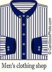 Vector illustration of white men's shirt in a blue strip on the white background. Men's clothing shop.