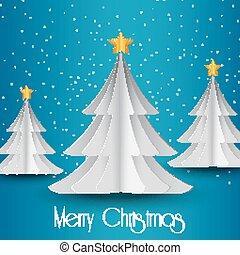 White paper Christmas tree on blue