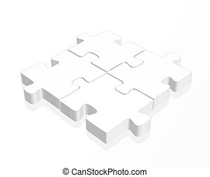 white puzzle pieces with a reflection