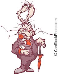 Vector illustration of white rabbit with clock