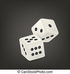 Vector illustration of white realistic game dice icon in flight closeup on black background. Casino gambling design template for app, web, infographics, advertising, mock up etc