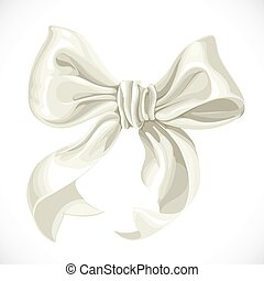 Vector illustration of white satin ribbon bow isolated on...