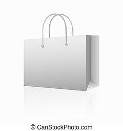 Vector illustration of white shopping paper bag