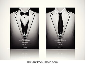 White Suit and Tuxedo with black bow tie
