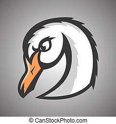 Vector illustration of white swan. Sport mascot.