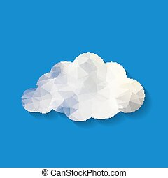 Vector illustration of white triangle paper cloud on  blue backg