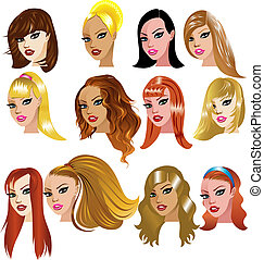 White Women Faces - Vector Illustration of White Women Faces...