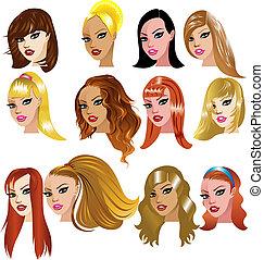 White Women Faces - Vector Illustration of White Women Faces...