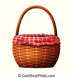 Wicker basket with towel isolated on white background