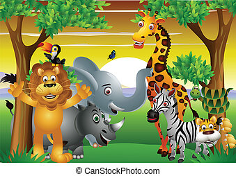 vector illustration of Wild African animal cartoon with blank sign