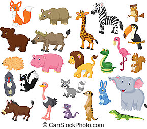 Wild animal cartoon collection - Vector illustration of Wild...