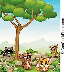 Wild animal cartoon in the jungle
