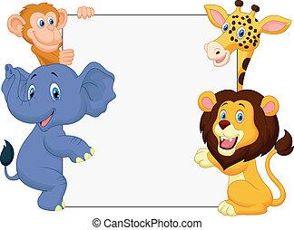 Wild animal cartoon with blank sign