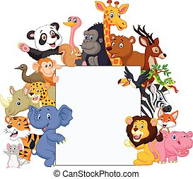 Wild animal cartoon with blank sign - Vector illustration of...