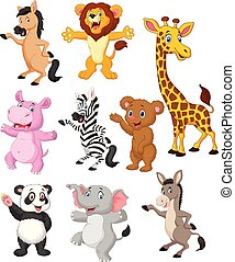Wild animals cartoon collection set